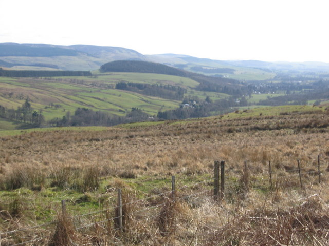 A view to the Annan valley over very rough grazing lands
