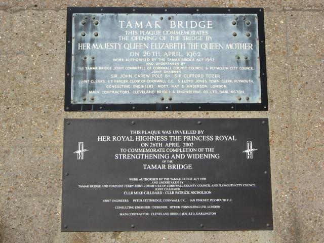 Tamar Bridge plaques