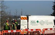 SH5571 : Tree surgeons at work near Pont y Borth by Eric Jones