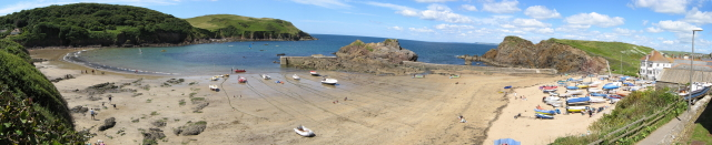 Panorama of Hope Cove at low tide
