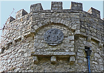 SS8872 : Heraldic arms on the tower, Dunraven Park walled garden. by Mick Lobb