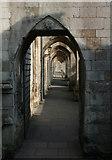 SU4829 : Path under buttresses, Winchester Cathedral by Espresso Addict