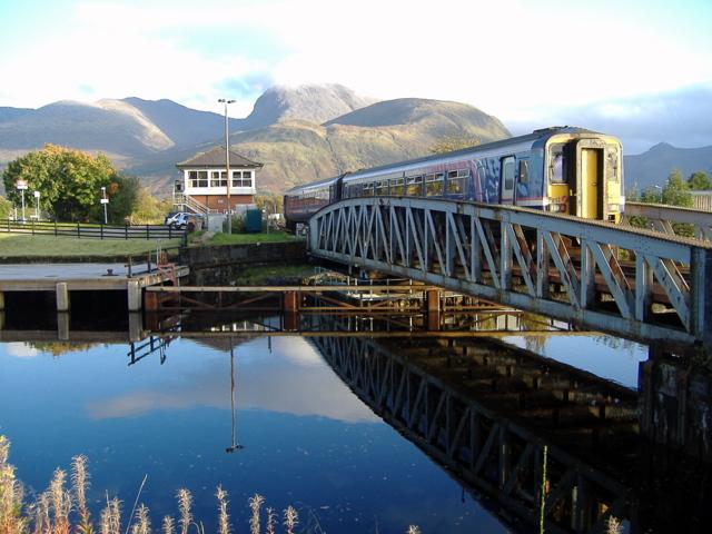 Train crossing bridge at Banavie