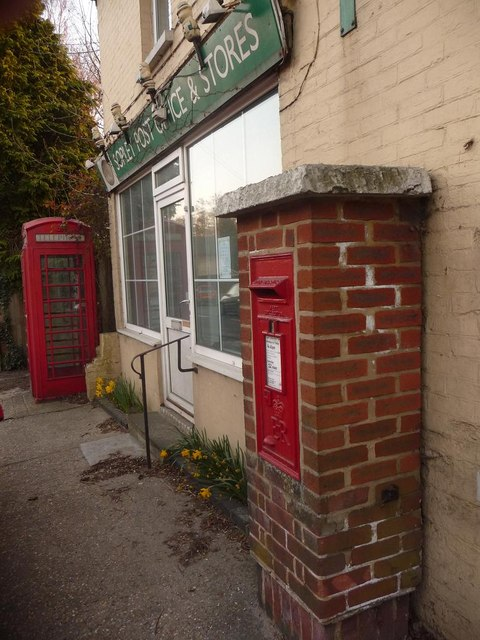 Sopley: postbox № BH23 43 and phone box