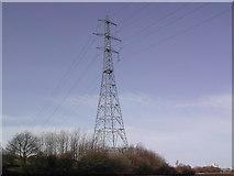 SD3642 : River crossing pylon at Stanah by Peter Bainbridge
