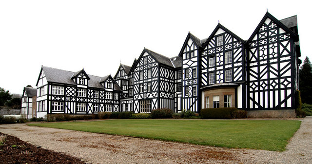The rear view of Gregynog Hall