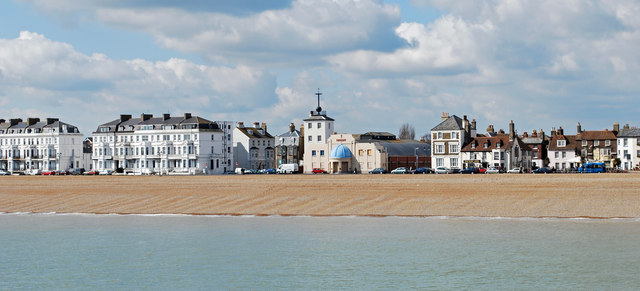 The Time Ball museum and seafront from the pier, Deal