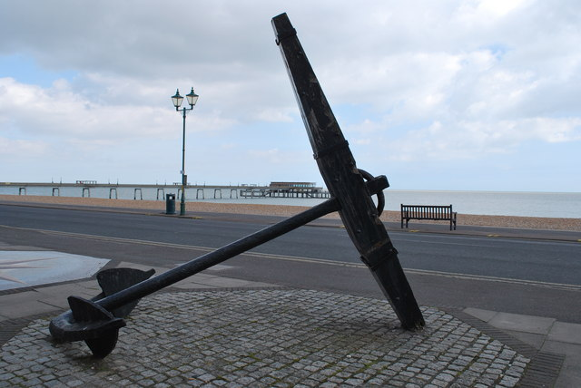 The anchor at the Time Ball Museum with Deal pier