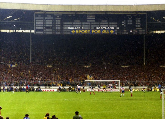 The Scoreboard end in the old Wembley Stadium