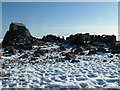 NN1671 : Observatory ruins in the snow by Simon Norman