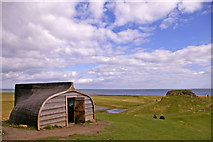 NU1341 : Boat Shed, Lindisfarne, Holy Island, Northumberland by Christine Matthews