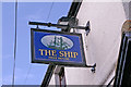 NU1241 : Sign for The Ship public house, Holy Island by Christine Matthews