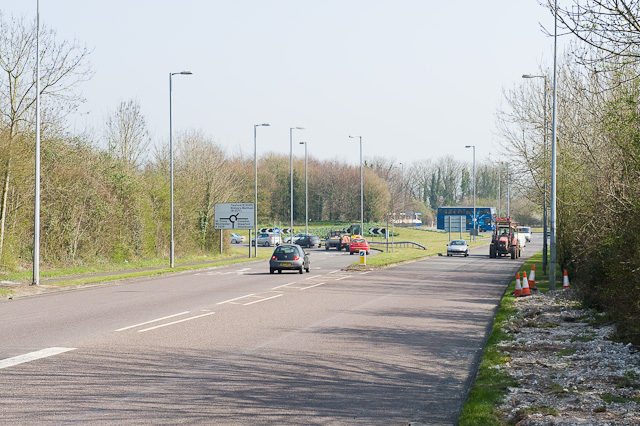 Approaching roundabout at southern end of Badger Farm Road