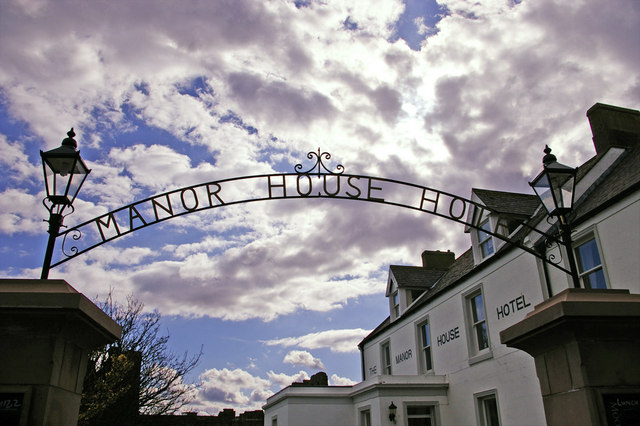 Sign over entrance to Manor House Hotel, Holy Island