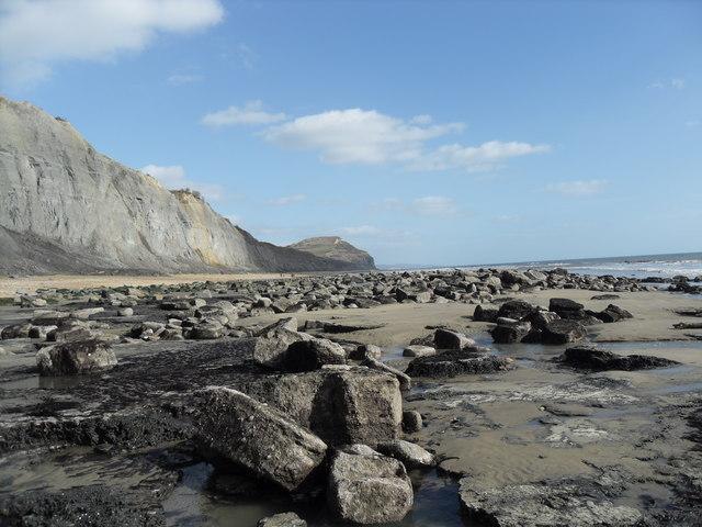 Charmouth beach on the Jurassic coast.