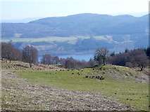 NH5533 : On the track to Balchraggan, with Loch Ness in the distance. by sylvia duckworth