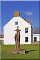 NU1241 : Statue of St Aidan, Holy Island, Northumberland by Christine Matthews