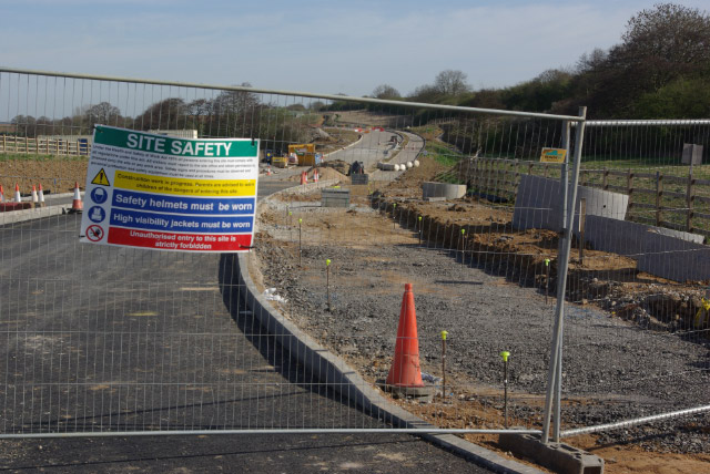 Rugby Western Relief Road under construction