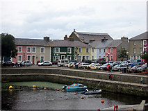 SN4562 : Coloured houses at Aberaeron Harbour by John Dalling