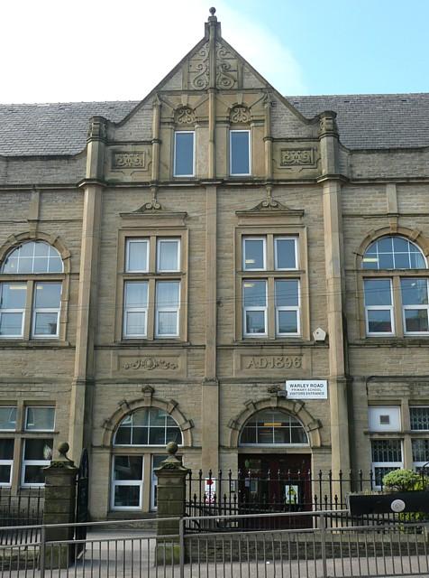 Central gable of Warley Road School, Halifax
