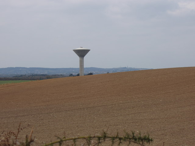 Mayglass water tower across ploughed field