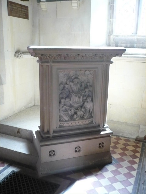 Unusual stone pulpit in the church of St. Catherine, Kingsdown