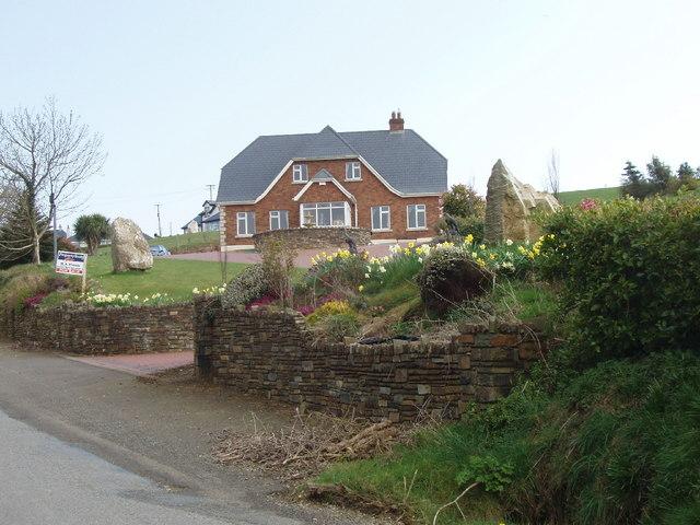 House with daffodils, near Coolstuff Cross Roads