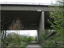 TQ5571 : M25 Motorway over River Darenth Towpath by David Anstiss