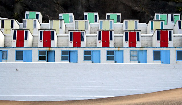 Tiers of Beach Huts on Tolcarne Beach