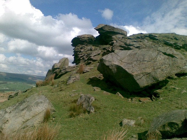 Looking up at the cragstones.