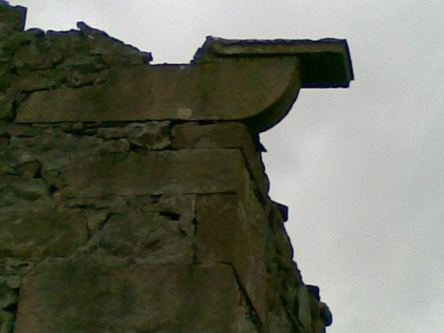 Details of stone guttering on barn, remains of.