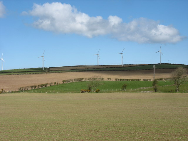The wind farm from the Carrog farm road