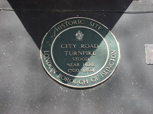 Plaque marking the site of the City Road Turnpike