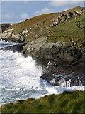 SX0486 : High tide at Trebarwith Strand by David Martin