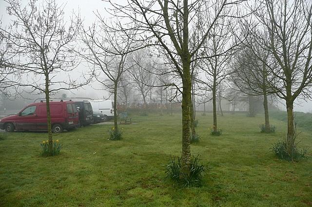 Misty car park