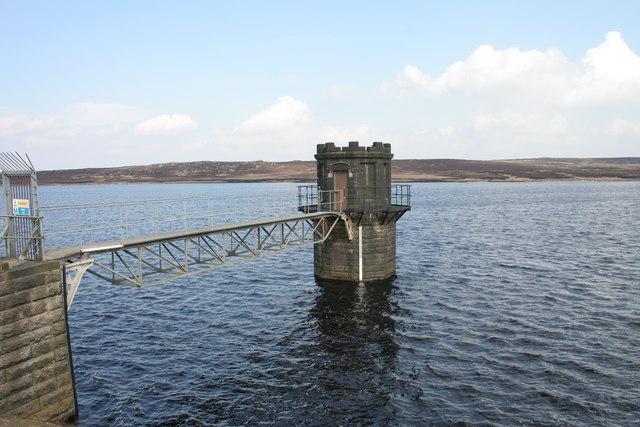 Valve tower at Warland Reservoir