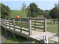 TR3553 : Footbridge over Crescent Pond in Fowlmead Country Park by David Anstiss