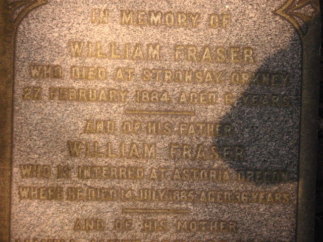 Commemoration Stone of William Fraser Jnr and his son