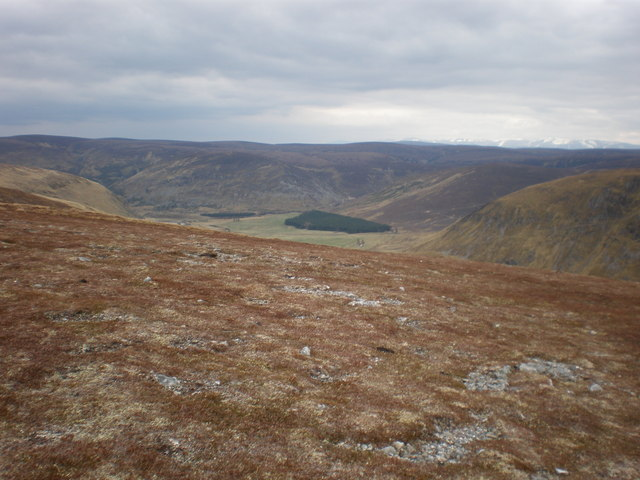 Looking east above Coignafearn  to Coignafeuinternich ruins