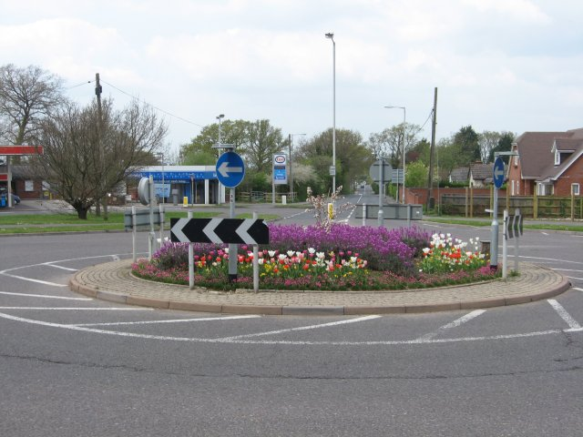 Colourful roundabout, Corfe Mullen