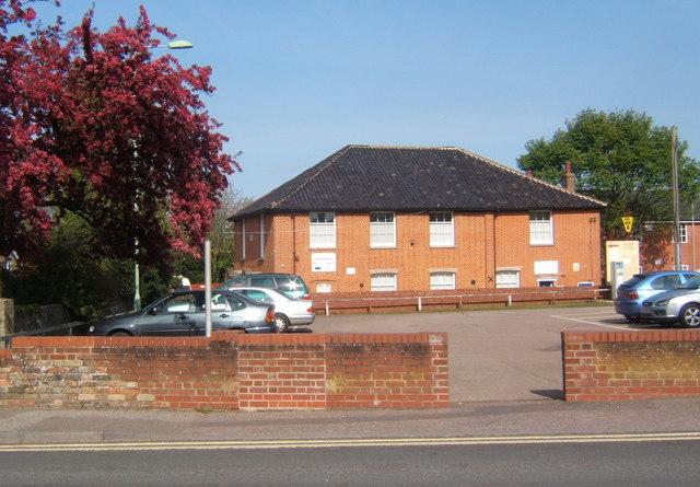 Car park and Stowmarket Baptist Church
