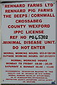 "S9726 : ""Minimal disease unit - do not enter"" sign at pig farm by David Hawgood"