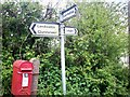 SN1321 : GR letterbox and sign, west of Rhydwen by welshbabe