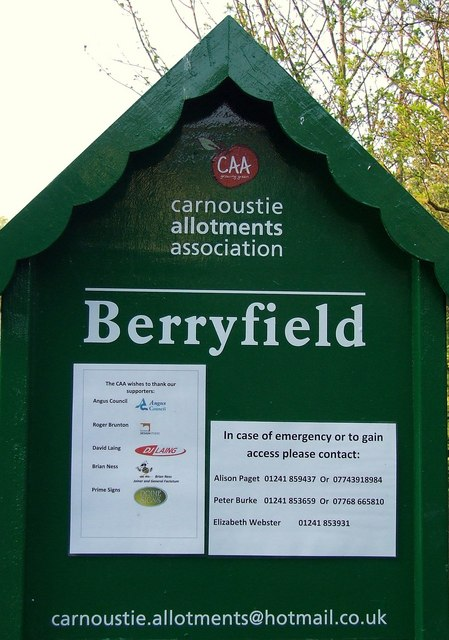 Sign for Berryfield allotments, Carnoustie