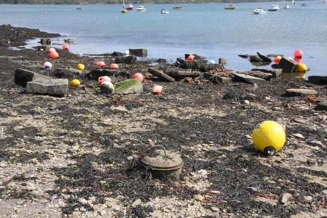 Mooring Sinkers at Loe Beach