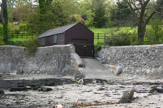 Private Boat House and Slipway at Loe Beach
