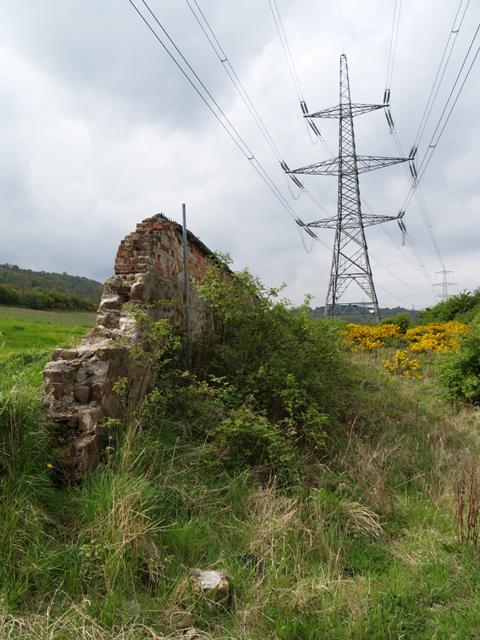 Wall at covered reservoir below Eston Hills