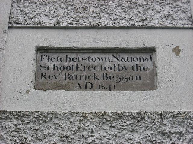 School Plaque at Fletcherstown