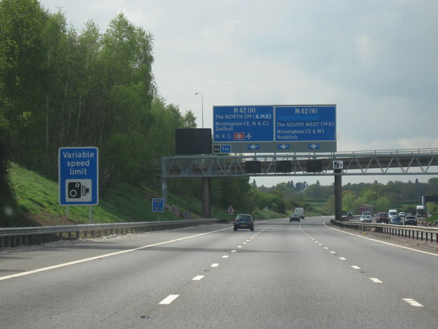 M40 Motorway, Heading North. Junction 3a M42 North or West -One Mile To Go
