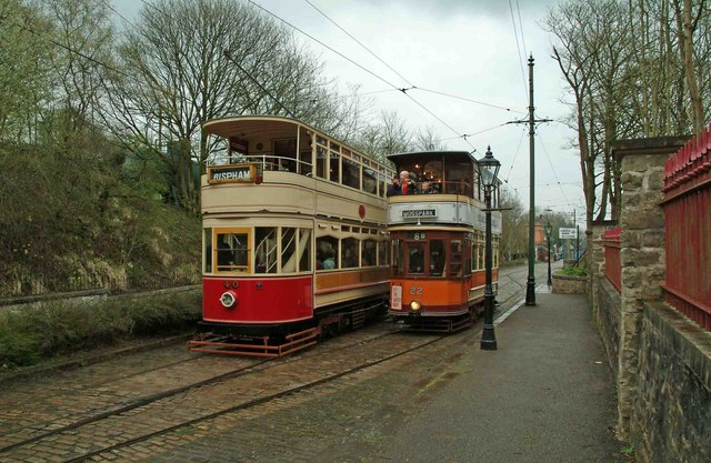 Blackpool Standard tram No. 40 & Glasgow tram No. 266 at Crich Tramway Village